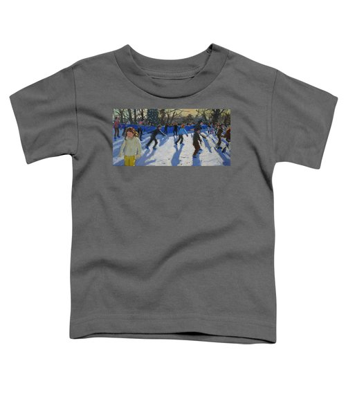 Ice Skaters At Christmas Fayre In Hyde Park  London Toddler T-Shirt by Andrew Macara