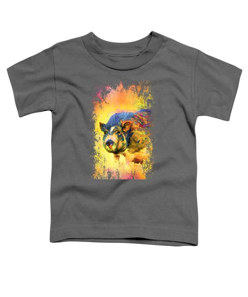 Jazzy Pig Colorful Animal Art By Jai Johnson Toddler T-Shirt by Jai Johnson