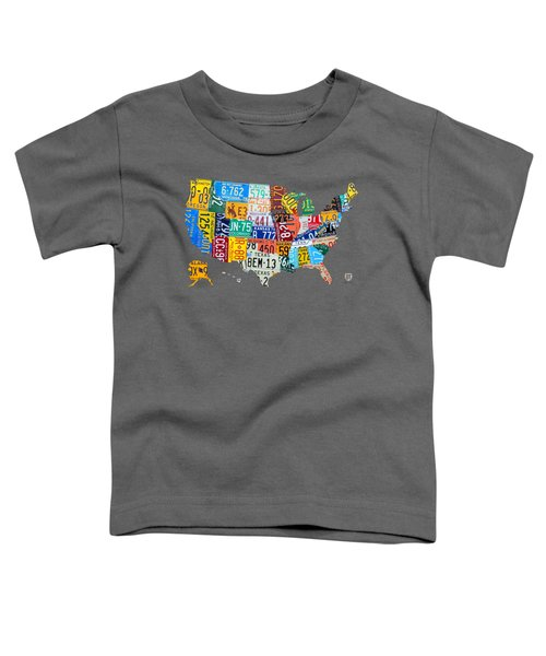 License Plate Map Of The United States Toddler T-Shirt by Design Turnpike