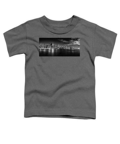 Manhattan Skyline At Night Toddler T-Shirt by Az Jackson