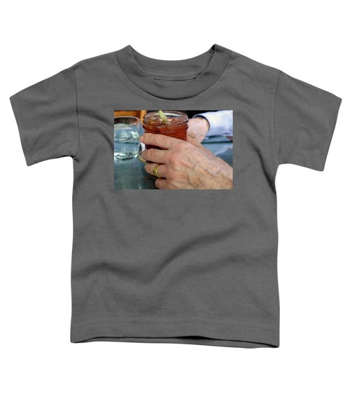 Mans Hand Holding Bloody Mary  Toddler T-Shirt by Beth Wolff