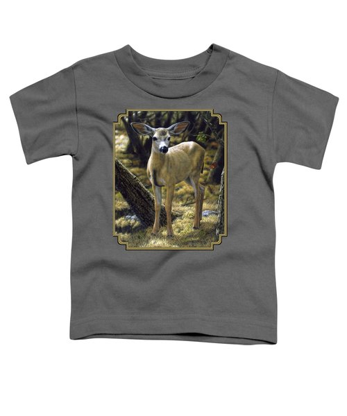 Mule Deer Fawn - Monarch Moment Toddler T-Shirt by Crista Forest