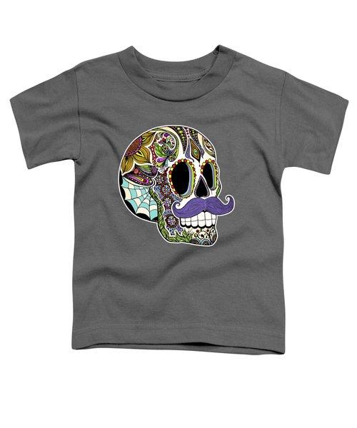 Mustache Sugar Skull Toddler T-Shirt by Tammy Wetzel