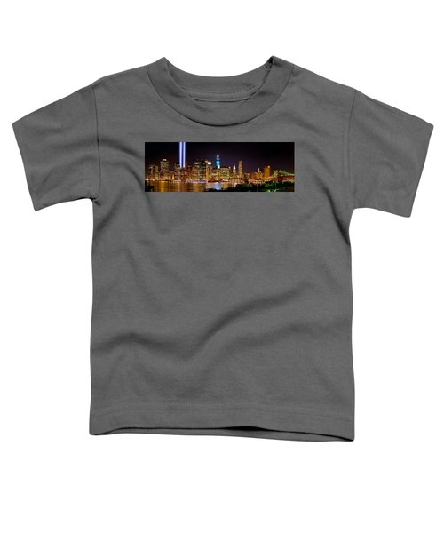 New York City Tribute In Lights And Lower Manhattan At Night Nyc Toddler T-Shirt by Jon Holiday
