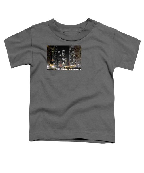 Panoramic Lakefront View In Chicago Toddler T-Shirt by Frozen in Time Fine Art Photography