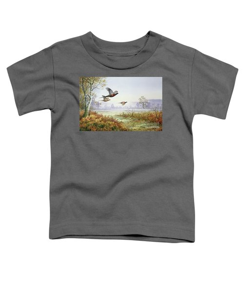 Pheasants In Flight  Toddler T-Shirt by Carl Donner