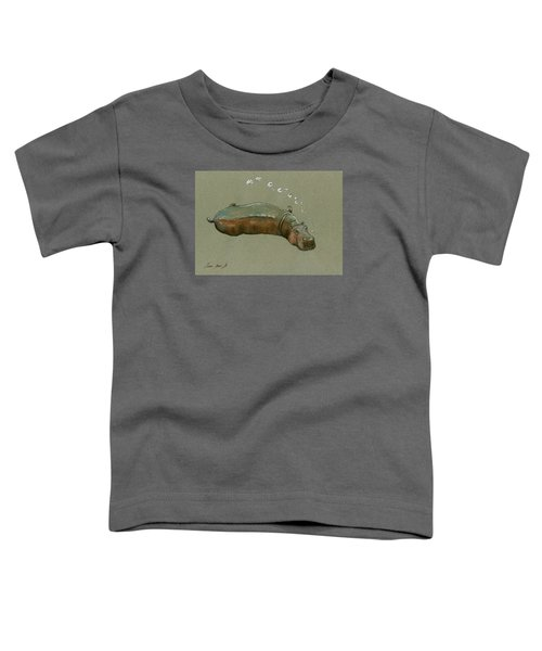 Playing Hippo Toddler T-Shirt by Juan  Bosco