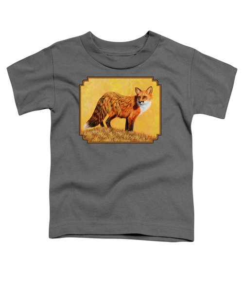 Red Fox Painting - Looking Back Toddler T-Shirt by Crista Forest