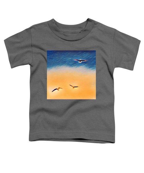 Seagulls Flying In The Burning Sky Toddler T-Shirt by Paul Mc Namara
