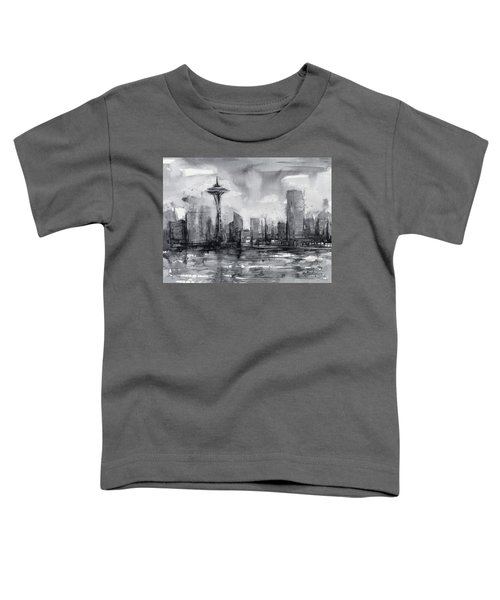 Seattle Skyline Painting Watercolor  Toddler T-Shirt by Olga Shvartsur
