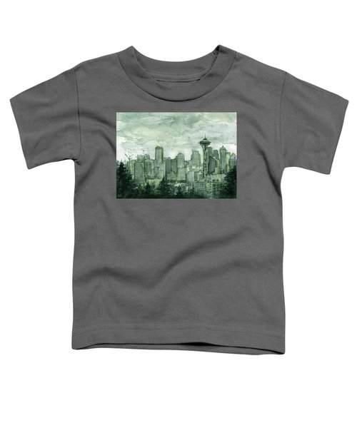 Seattle Skyline Watercolor Space Needle Toddler T-Shirt by Olga Shvartsur