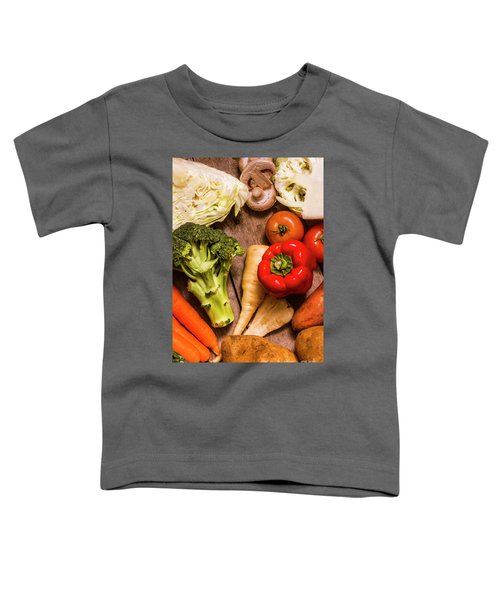 Selection Of Fresh Vegetables On A Rustic Table Toddler T-Shirt by Jorgo Photography - Wall Art Gallery