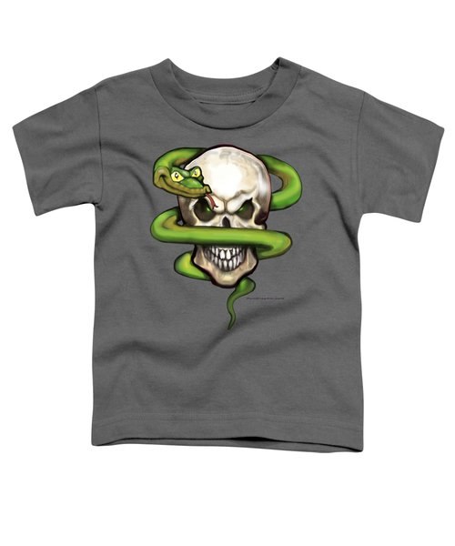 Serpent Evil Skull Toddler T-Shirt by Kevin Middleton