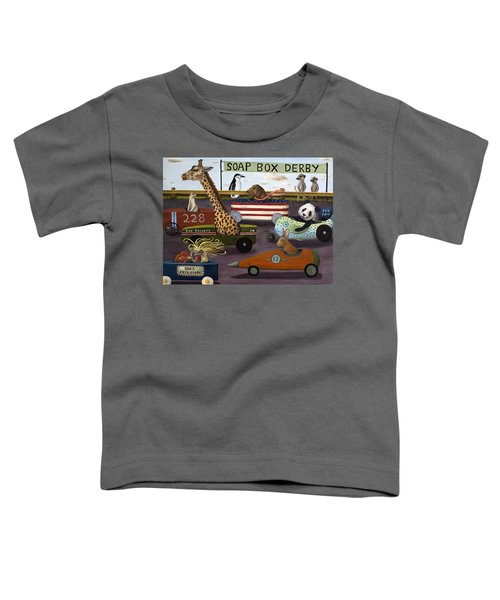 Soap Box Derby Toddler T-Shirt by Leah Saulnier The Painting Maniac