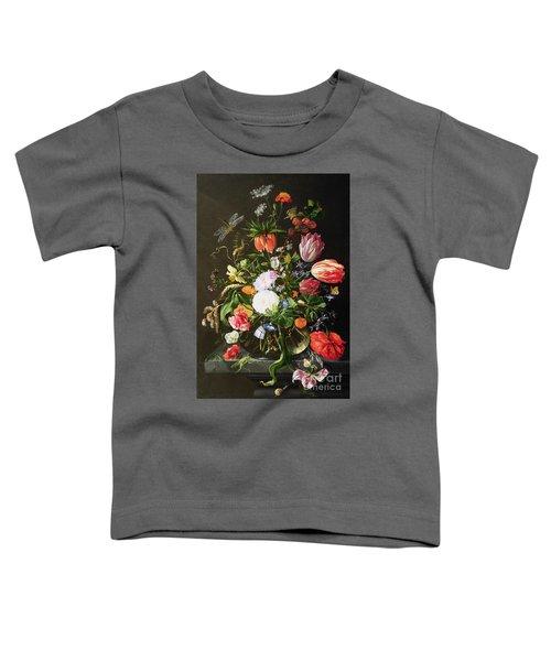 Still Life Of Flowers Toddler T-Shirt by Jan Davidsz de Heem