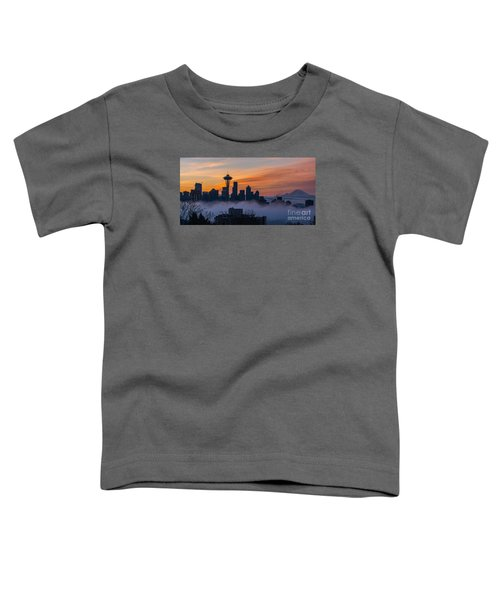 Sunrise Seattle Skyline Above The Fog Toddler T-Shirt by Mike Reid