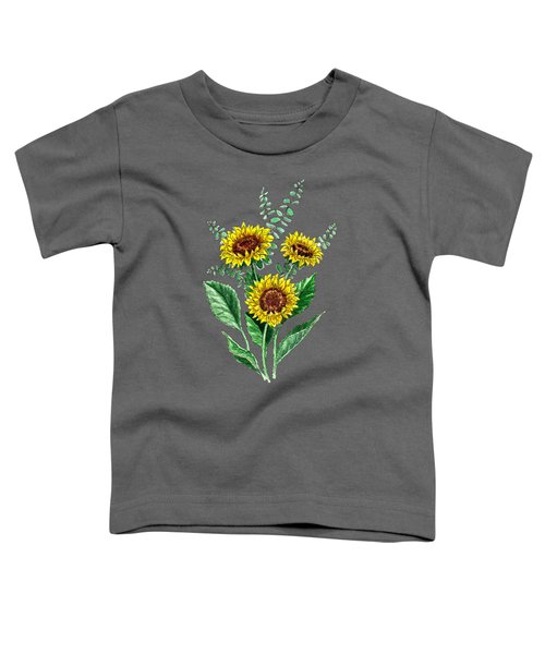 Three Playful Sunflowers Toddler T-Shirt by Irina Sztukowski