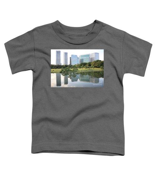 Tokyo Skyline Reflection Toddler T-Shirt by Carol Groenen