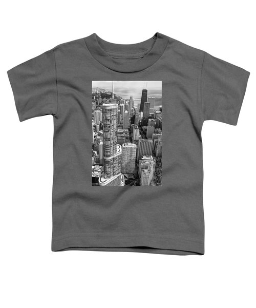 Trump Tower And John Hancock Aerial Black And White Toddler T-Shirt by Adam Romanowicz
