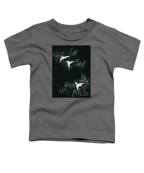 Vintage Japanese Illustration Of Three Cranes Flying In A Night Landscape Toddler T-Shirt by Japanese School