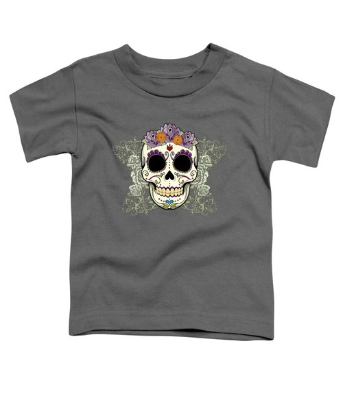 Vintage Sugar Skull And Flowers Toddler T-Shirt by Tammy Wetzel