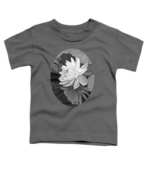 Water Lily Reflections In Black And White Toddler T-Shirt by Gill Billington