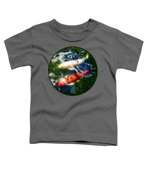 White And Orange Koi Toddler T-Shirt by Susan Savad