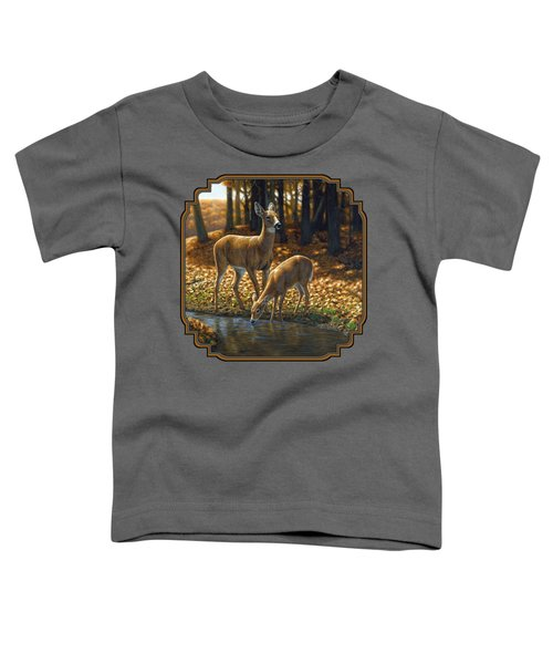 Whitetail Deer - Autumn Innocence 1 Toddler T-Shirt by Crista Forest