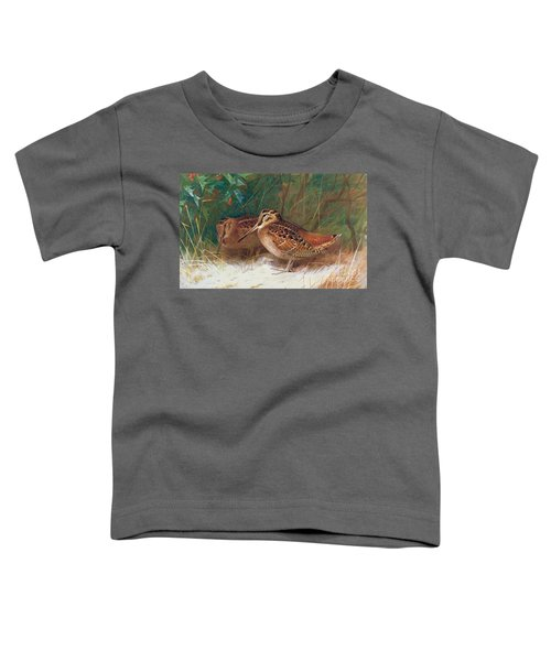 Woodcock In The Undergrowth Toddler T-Shirt by Archibald Thorburn