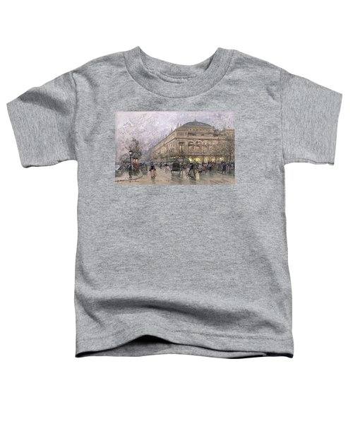 Parisian Street Scene Toddler T-Shirt by Eugene Galien-Laloue