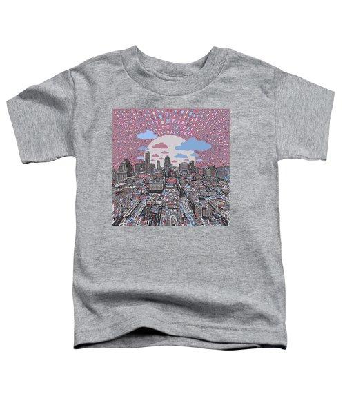 Austin Texas Abstract Panorama 3 Toddler T-Shirt by Bekim Art