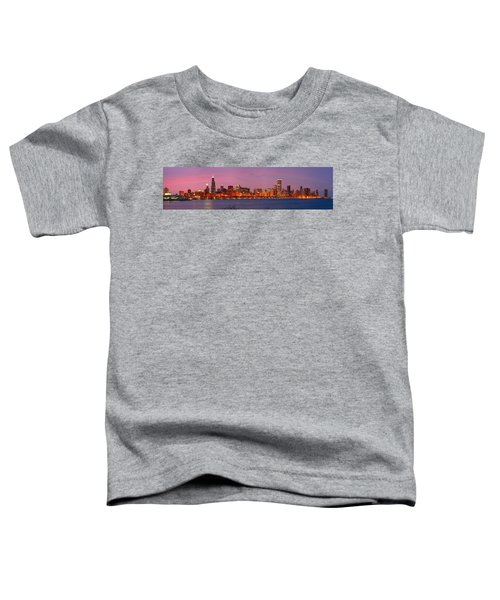 Chicago Skyline At Dusk 2008 Panorama Toddler T-Shirt by Jon Holiday