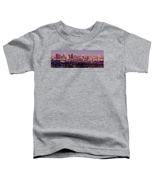 Los Angeles Skyline At Dusk Toddler T-Shirt by Jon Holiday