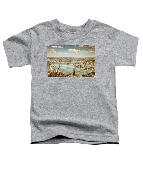 New York City - Brooklyn Bridge And Manhattan Bridge From Above Toddler T-Shirt by Vivienne Gucwa