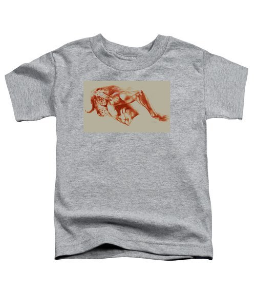 North American Minotaur Red Sketch Toddler T-Shirt by Derrick Higgins