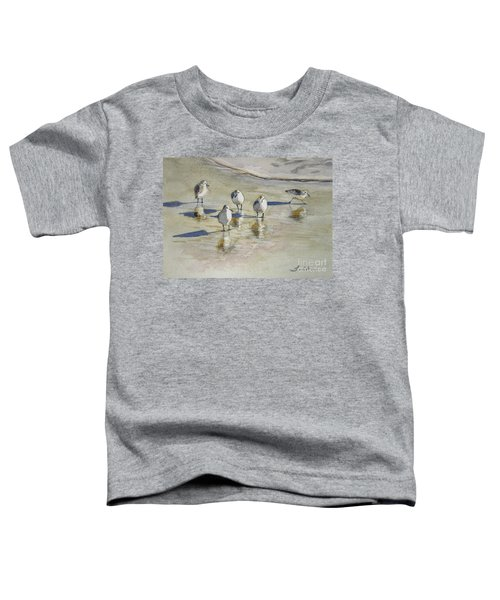 Sandpipers 2 Watercolor 5-13-12 Julianne Felton Toddler T-Shirt by Julianne Felton