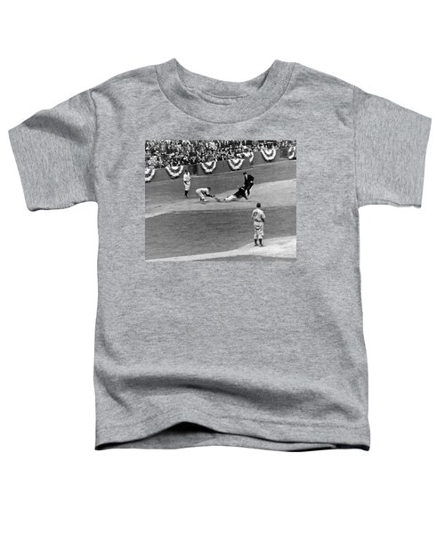 Spud Chandler Is Out At Third In The Second Game Of The 1941 Wor Toddler T-Shirt by Underwood Archives