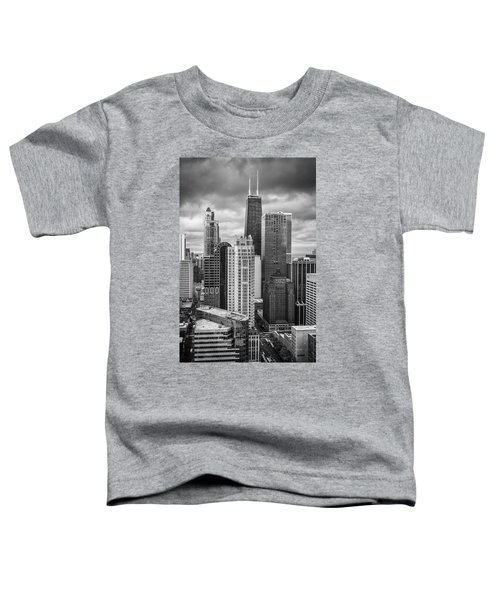 Streeterville From Above Black And White Toddler T-Shirt by Adam Romanowicz