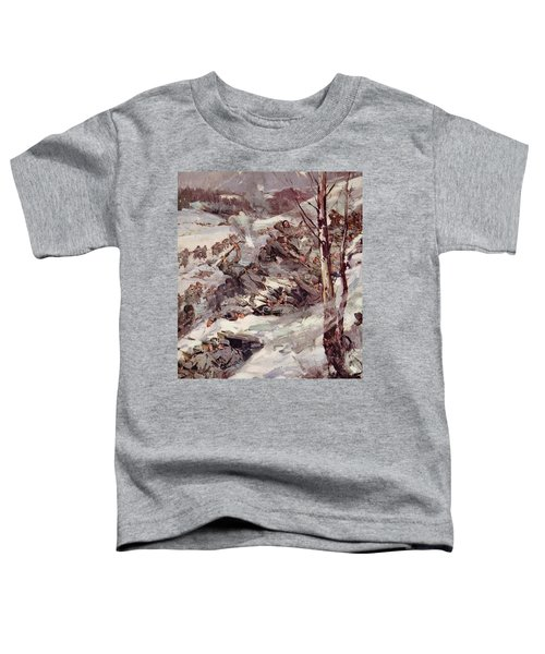 The Russians Fighting Their Way Over The Carpathians Toddler T-Shirt by Cyrus Cuneo