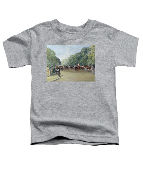 View Of Hyde Park With Figures On Rotten Row  Toddler T-Shirt by Albert Jnr Ludovici