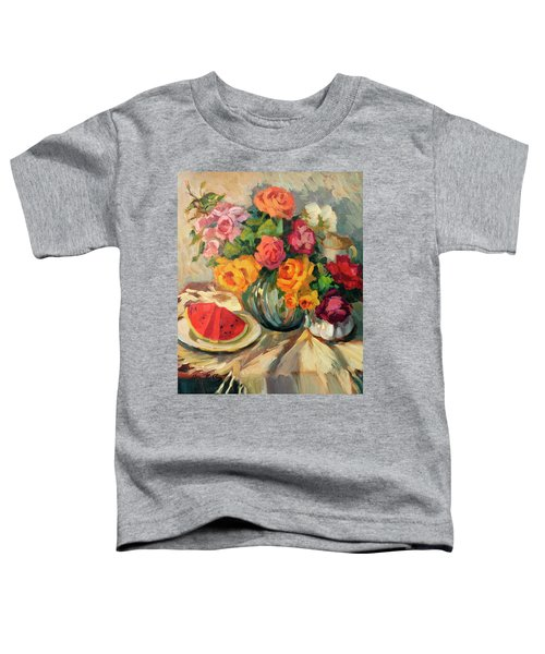 Watermelon And Roses Toddler T-Shirt by Diane McClary