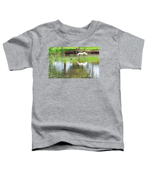 Ibis Over His Reflection Toddler T-Shirt by Kaye Menner