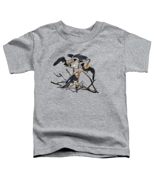 Anhinga Feeding Time Transparency Toddler T-Shirt by Richard Goldman