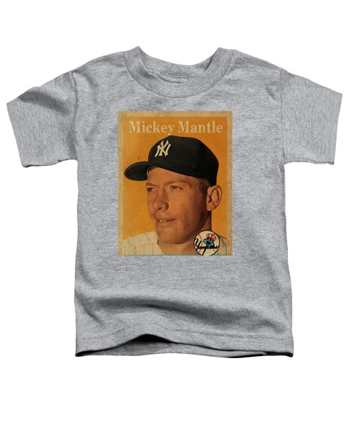1958 Topps Baseball Mickey Mantle Card Vintage Poster Toddler T-Shirt by Design Turnpike