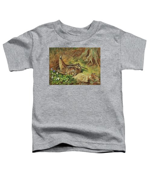 A Woodcock And Chicks Toddler T-Shirt by Archibald Thorburn
