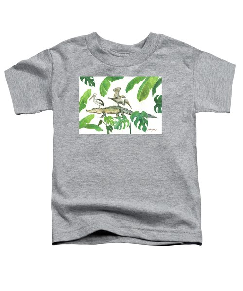 Alligator And Pelicans Toddler T-Shirt by Juan Bosco
