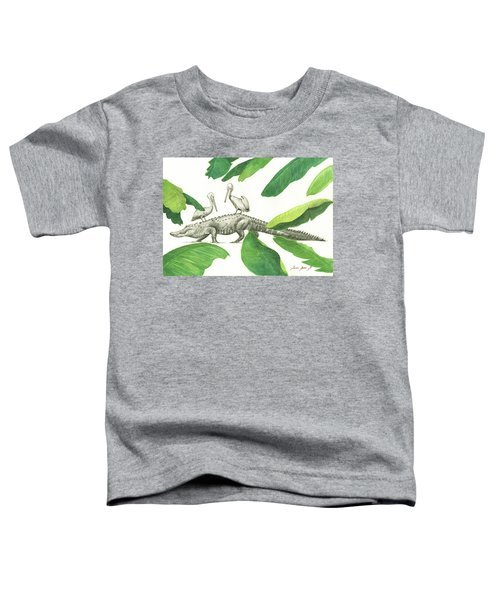 Alligator With Pelicans Toddler T-Shirt by Juan Bosco