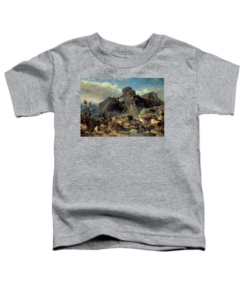 Animals Leaving The Ark, Mount Ararat  Toddler T-Shirt by Filippo Palizzi