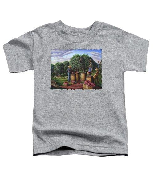 Apple Harvest - Autumn Farmers Orchard Farm Landscape - Folk Art Americana Toddler T-Shirt by Walt Curlee