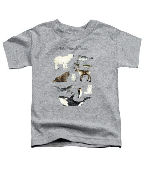 Arctic And Antarctic Animals Toddler T-Shirt by Amy Hamilton